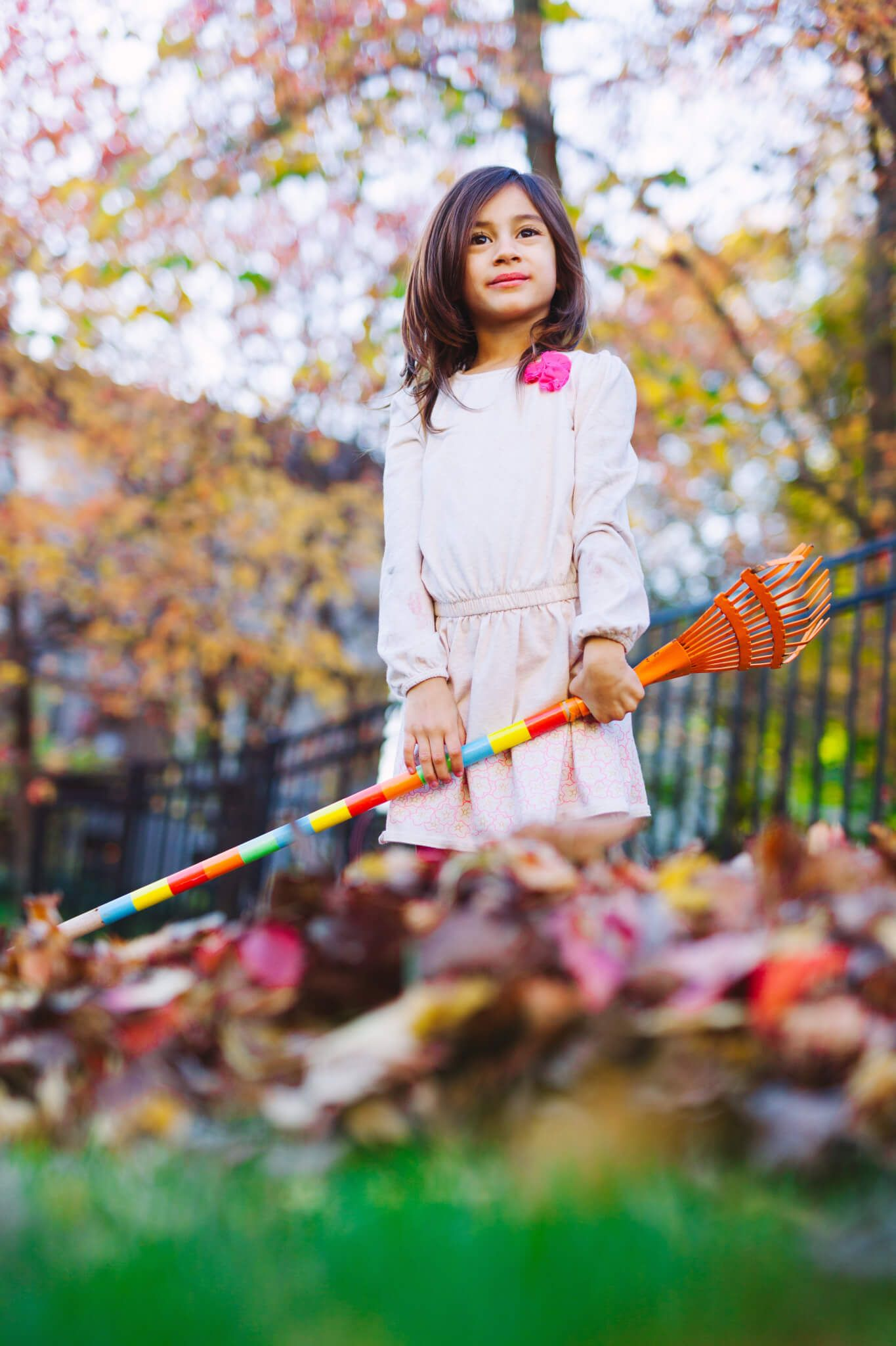 A young girl smiling as she rakes up leaves in a yard.