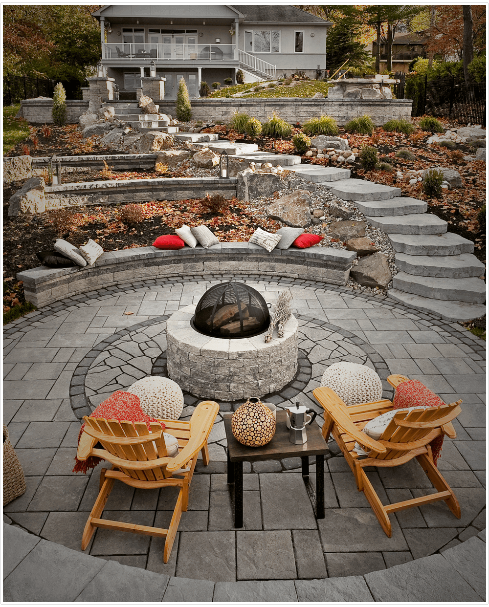 luxury backyard design with firepit and interlock stone