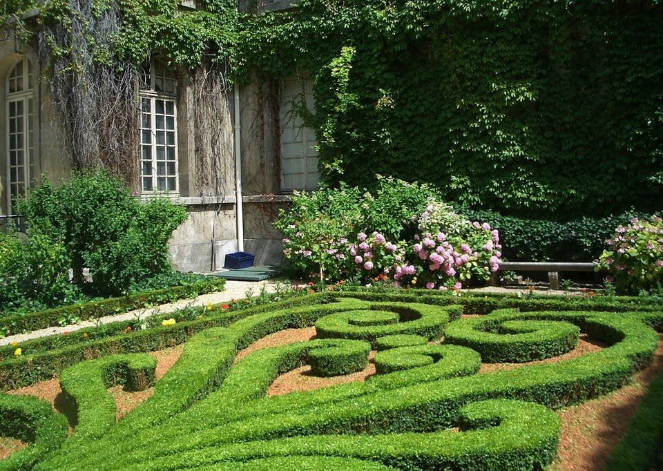A garden incorporating classic French hedge patterns with more modern features.