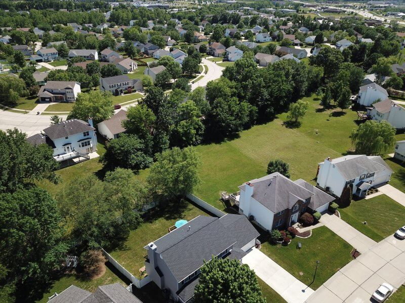 Aerial view of suburban community