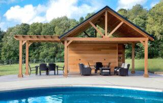 Poolside wooden gazebo